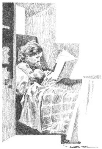 Girl reading (1976) / Pencil.