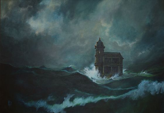 «The house in the sea», acrylic on canvas (130x90 cm, 1998). This painting is not part of the «De profundis» series, but it finished being main part of the film.