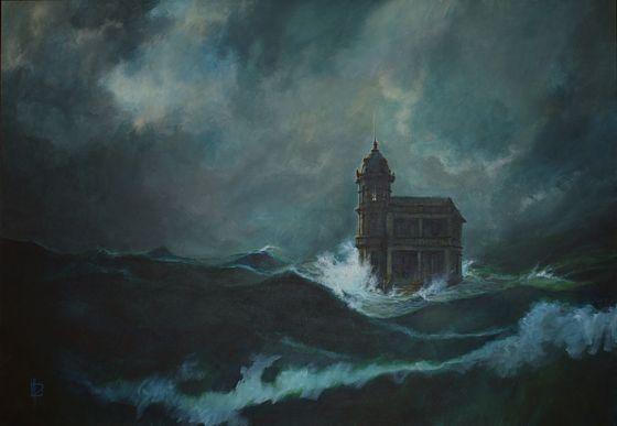 """""""La casa en el mar"""". Acrílico s/ lienzo. 1998. """"Este cuadro no forma parte de la serie de """"De Profundis"""", pero acabó siendo parte fundamental de la película""""."""