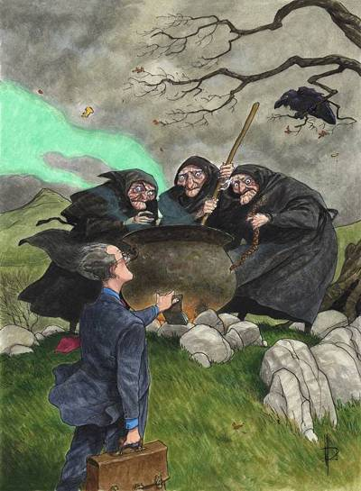 Witches and the Treasury (Incongrous Reports 2) / Acrylic / 361x481 mm.
