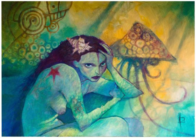 Sheperdess of jellyfish-2 / Acrylic on canvas / 92x65 cm.