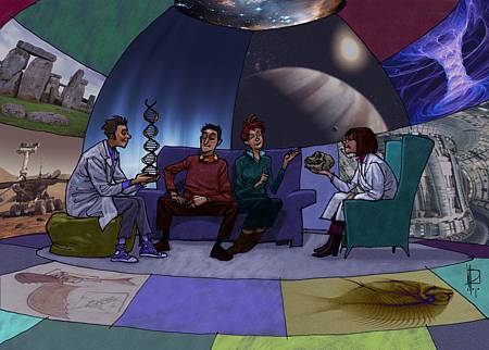 Ilustraciones para los Museos Científicos Coruñeses sobre la divulgación científica. Esta es la correspondiente al siglo XXI. Tinta s/ papel, color y collage digitales.