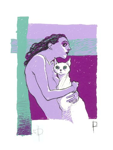 """Woman and albino cat "", silk screen print, 4 inks (32,9 x 48,3 cm). This silk screen print will be part of a portafolio with works of several authors edited by Fumetto Comix-Festival (Luzerna) in his 20th. edition."
